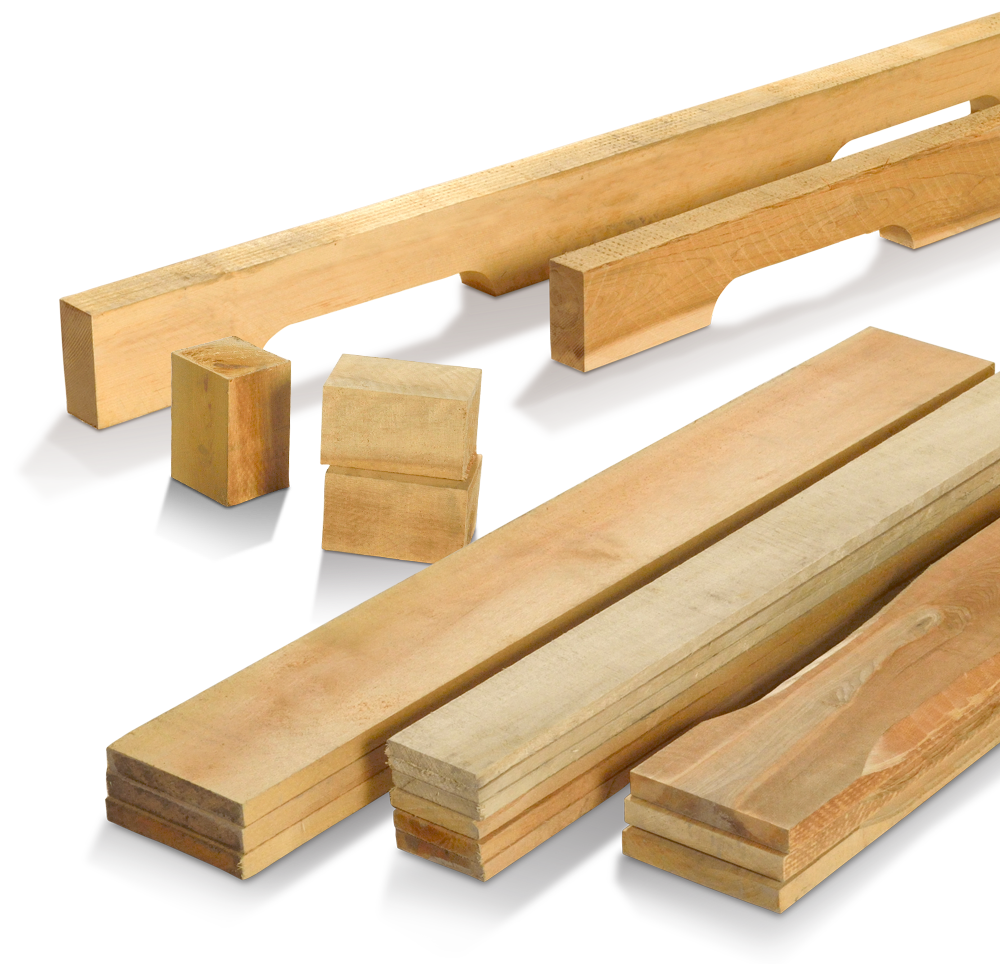 Cut-to-size wood for pallet assemblers, blocks and pre-cut